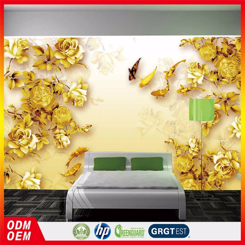 Gold Rose Painting 3d Wallpaper In Gold Color Murals Wallpaper Rose