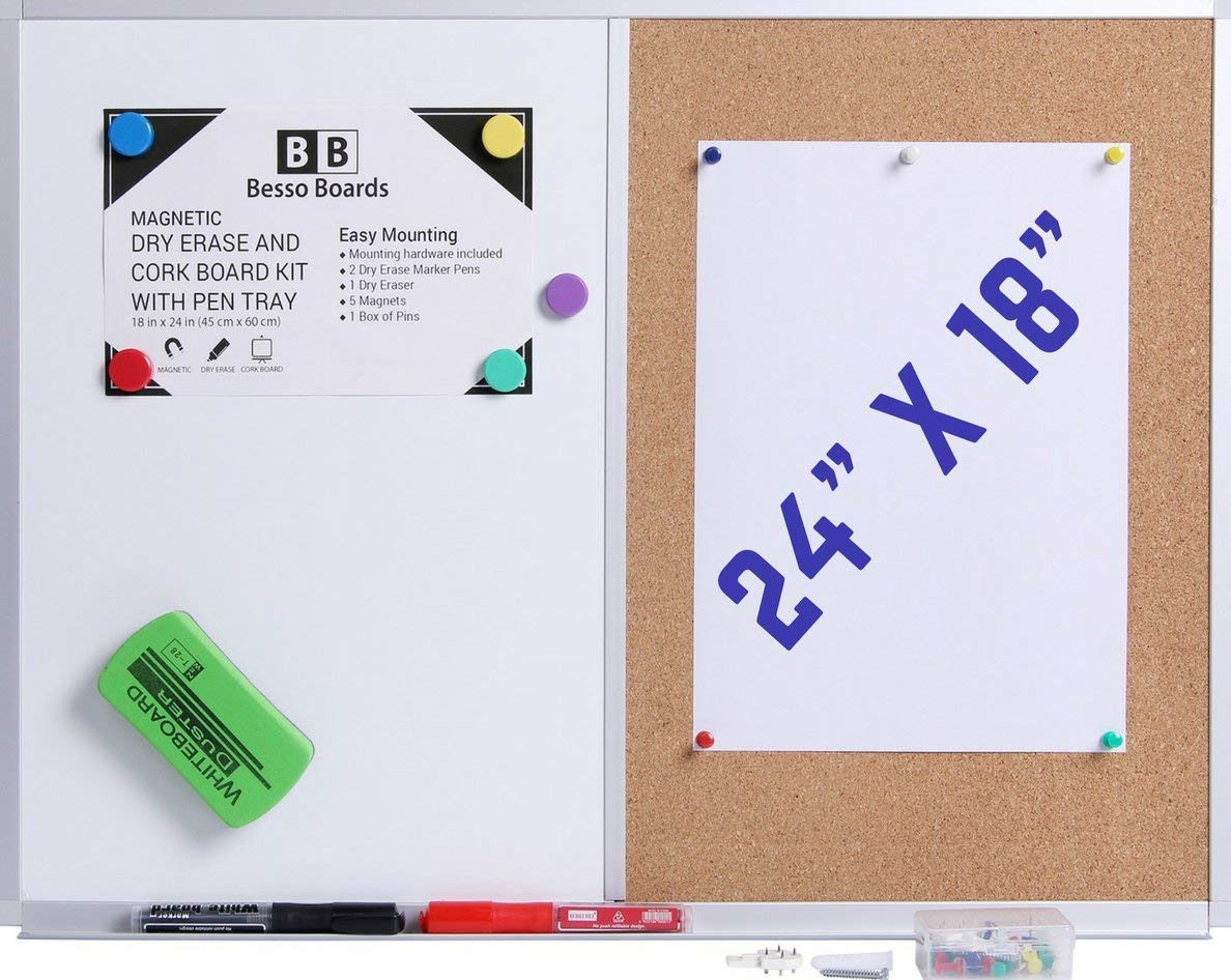 Get Quotations 24 X 18 White Board And Cork Combination Wall Mounted Magnetic Whiteboard Bulletin