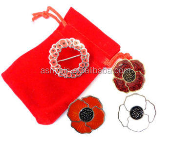 Poppy Brooch,Badge,Pin In Different Kind Of Effect/packed With Velvet Bag -  Buy Poppy Metal Brooch,Poppy Metal Lapel Pin,Glitter Enamel Poppy Badge