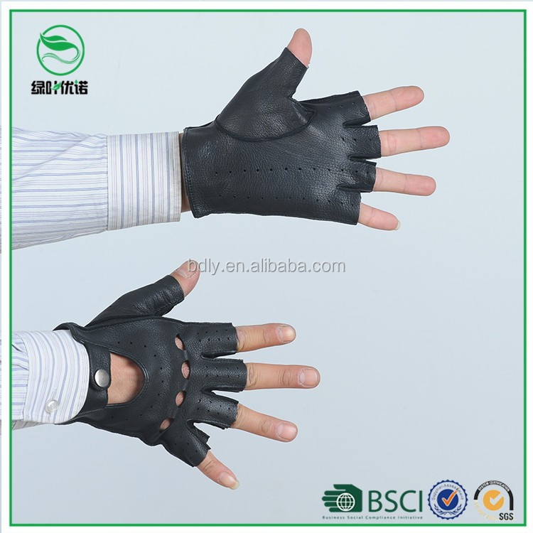 Fingerless black leather Motorbike gloves mens summer driving leather gloves