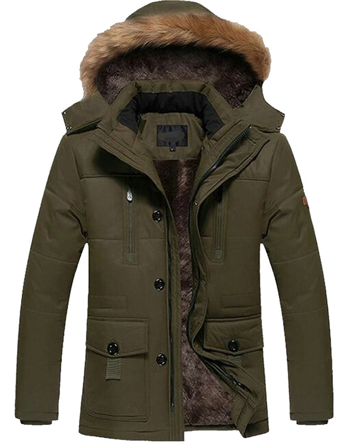Pandapang Mens Corduroy Thick Plus Size Winter Fleece Parka Coat Jacket