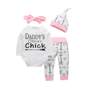 8dfcb53c90f Daddy print rompers with arrow pants infant organic cotton winter baby girl  clothes