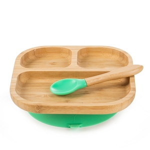 bamboo square baby plate with spoon set