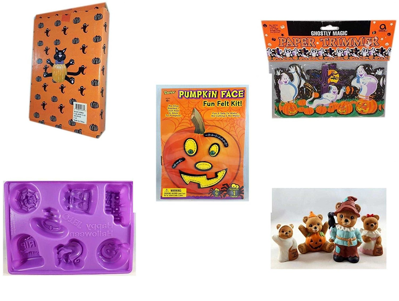 Halloween Fun Gift Bundle [5 piece] - Halloween Cat Pumpkin Push In 5 Piece Head Arms Legs - Ghostly Magic Paper Trimmer 3.75 in x 9 ft. - Darice Pumpkin Face Fun Felt Kit - Stitches - Happy Hallowe