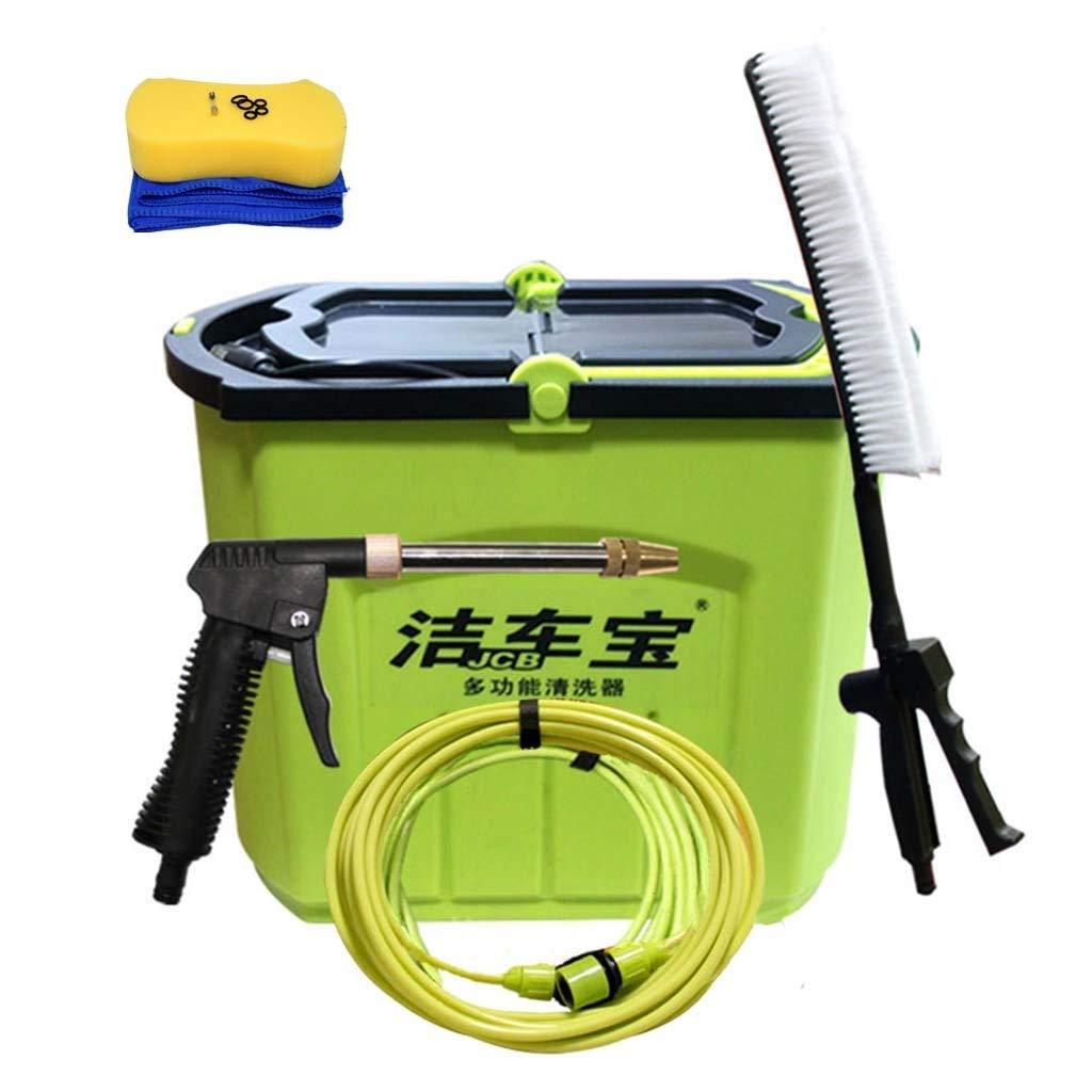Roscloud@ car washing machine 12V portable high-pressure car home cleaning machine car wash water gun Foam kit brush car artifact Electric Water Gun Brush Pump (Color : A, Size : 28L)
