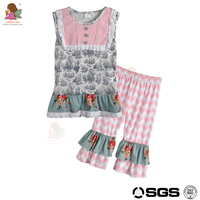 Conice nini brand unique chevron sleeveless boutique clothing 2017 wholesale baby suit for girls