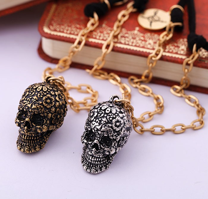 Artificial Jewellery Brands Wholesale Western Skull Pendant Necklace