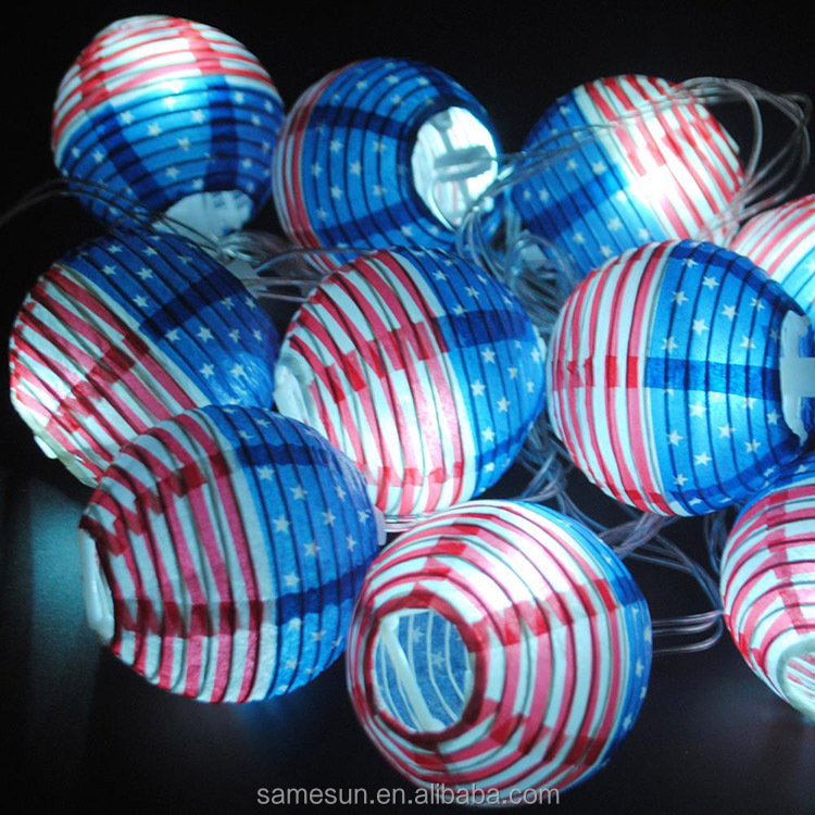 American Flag Pattern Paper Lantern LED String Lights for Party Supplies