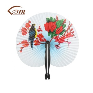 Spanish fashion logo print bulk paper hand fan for party dance ,custom printed folk art out door decoration plastic hand fan