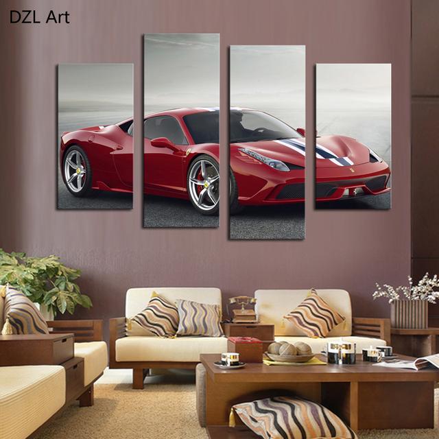 acheter 4 pcs pas de cadre voiture de sport rouge wall art photo d coration. Black Bedroom Furniture Sets. Home Design Ideas
