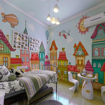 Enfants Chambre Papier Peint Dessin Animé Garçon Et Fille Peinture Murale Personnalisée Papier Peint Enfants Chambre Papier Peint Design Buy Papier