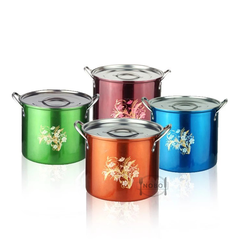 NOBO brand large stock pot set stainless steel soup cooking pots with custom printed