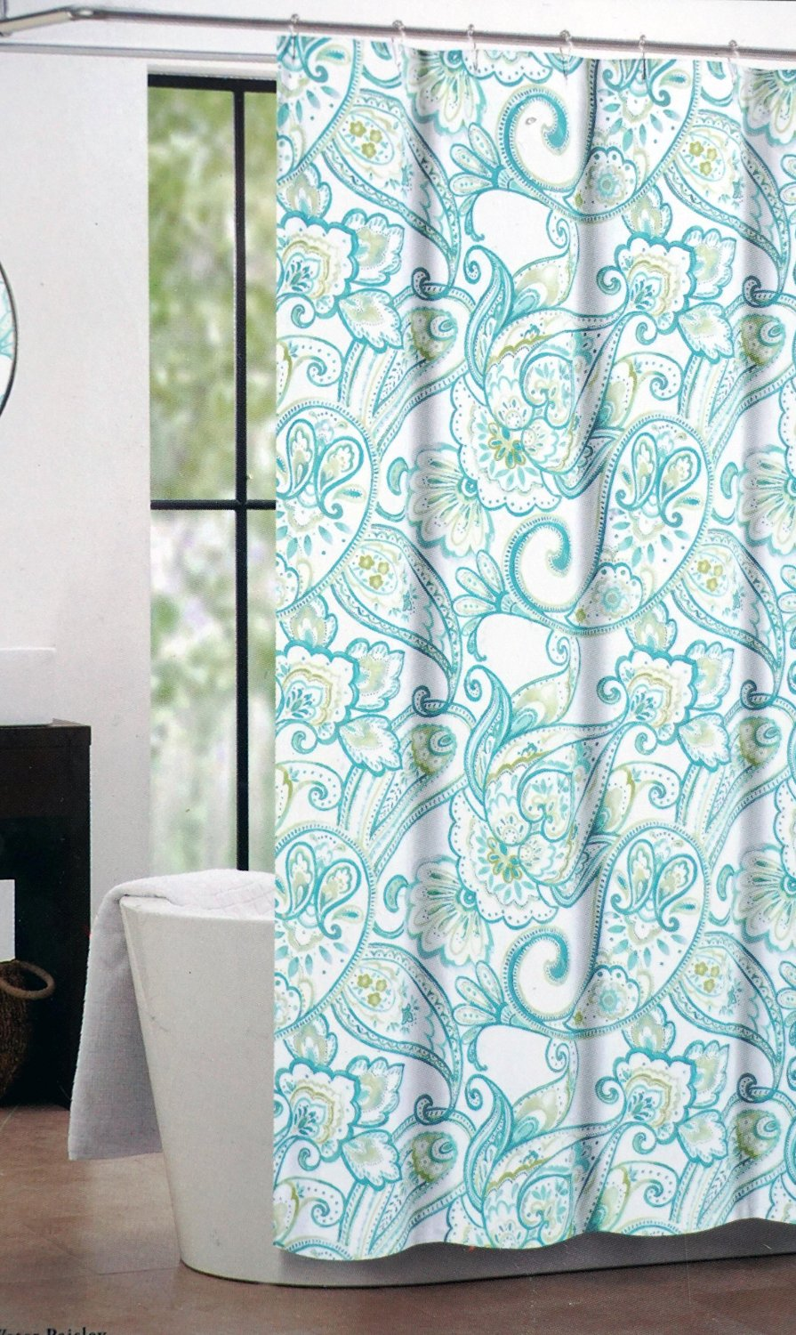Get Quotations · Nicole Miller Fabric Shower Curtain Blue Green Paisley  Pattern On White   Water Paisley