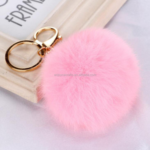 high quality rex rabbit fur ball hair bulb fuzzy keychain for purse