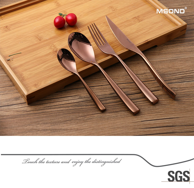 Supply fast delivery hotel stainless steel flatware set rose gold bulk cutlery high quality romantic cutlery set