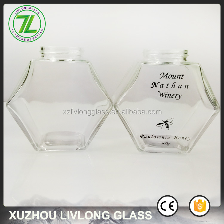 custom design fancy shape 500g honey packaging 360ml 12oz hexagon glass honey jars with screw cap