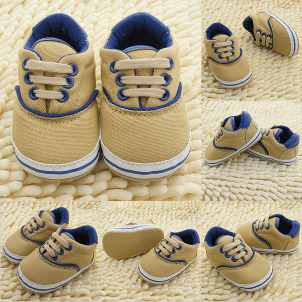 Factory Price 0 18M Toddlers Soft Sole Crib Shoes Infants Baby Lace Up Sneaker Prewalker Shoes