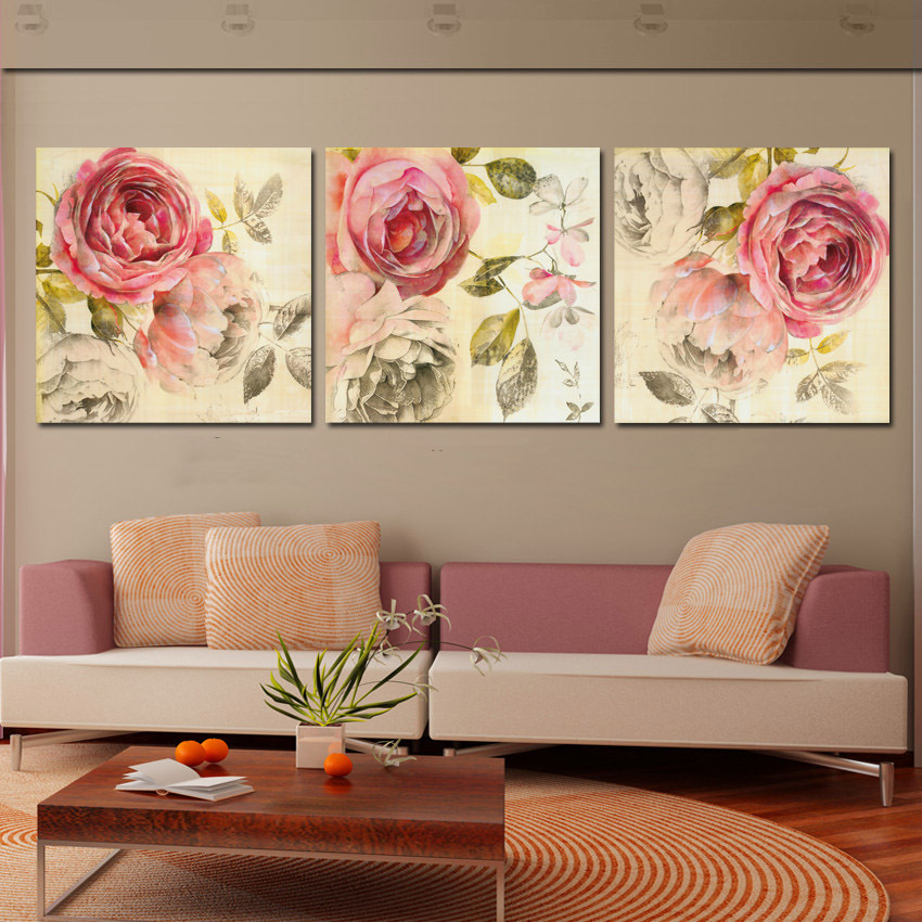 3 Piece Wall Art Painting Clic Flower Rose Canvas Prints Home Decoration Modern Paintings For Living Room Vintage Unframed