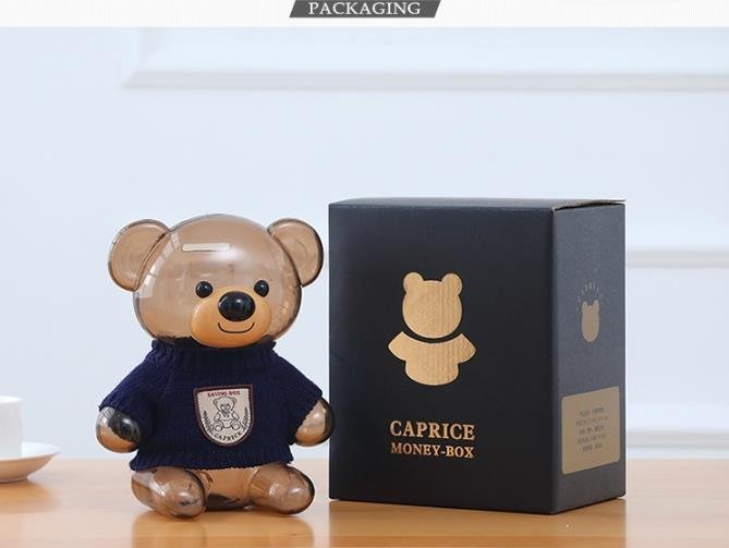 Wholesale Stock Small Order Cartoon Kids Coin Saving Box Transparent Bear Piggy Bank