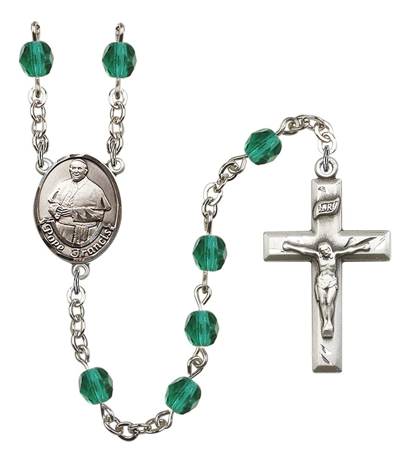 Silver Finish Pope Francis Rosary with 6mm Zircon Color Fire Polished Beads, Pope Francis Center, and 1 3/8 x 3/4 inch Crucifix, Gift Boxed