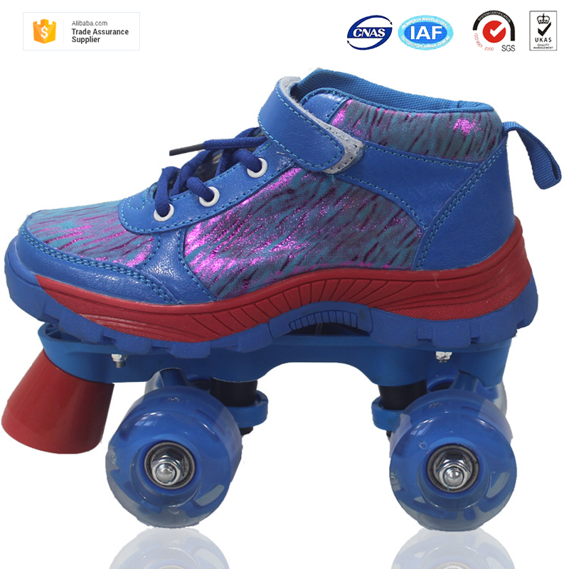 New arrived fashional durable PVC Synthetic leather with breathable mesh vamp 4 PU lights wheels kids quad roller skates shoes