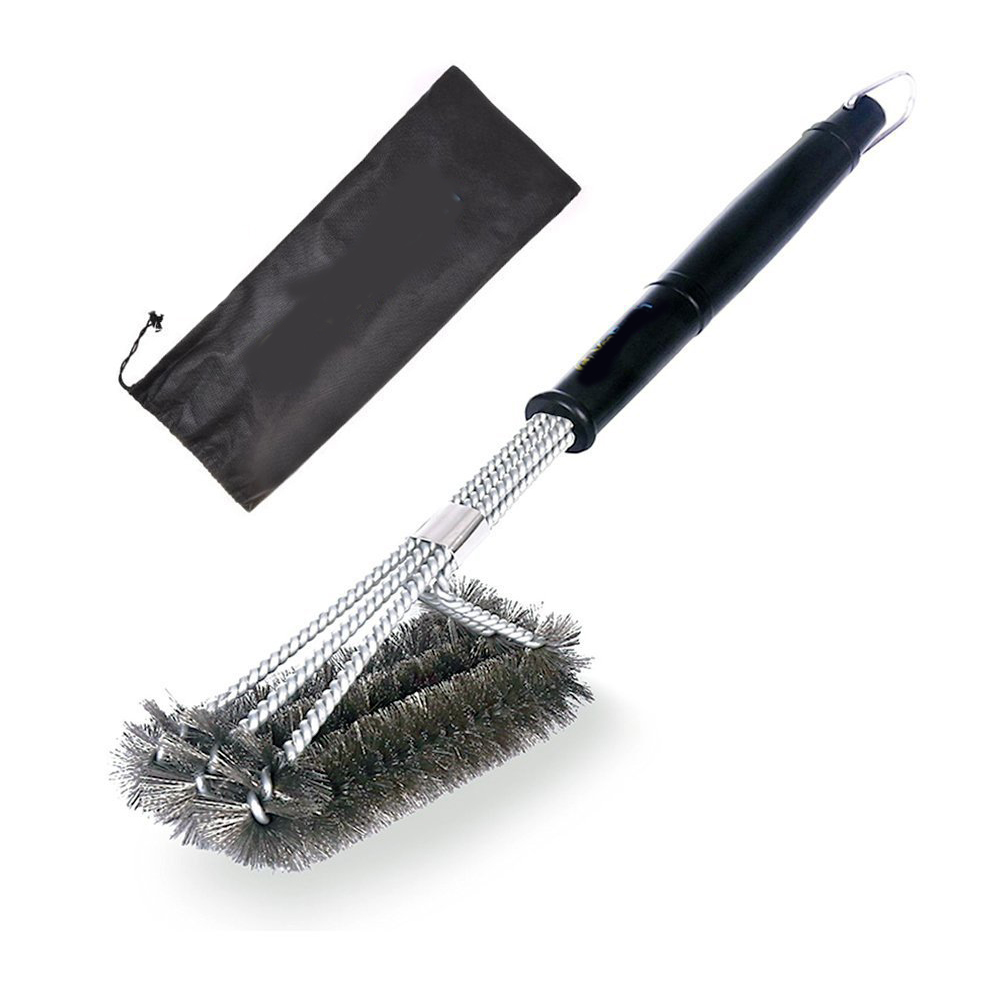 WB YM G225 2 Hot selling on amazon stainless steel 210 PP handle bbq grill brush 3 in 1 grill brush
