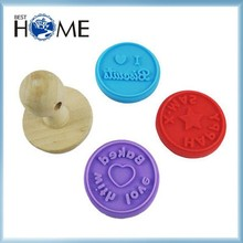 Custom FDA Approved Wooden Handle Silicone Cookie Stamp