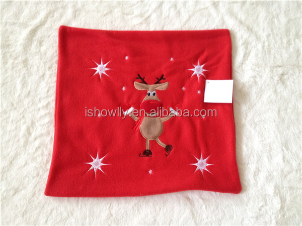 reindeer embroidery Christmas holiday cushion cover