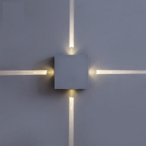 Superseptember hot selling 4 direction 4w 12w Indoor cube white black Morden decorative Led 4way linear wall light