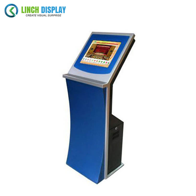 Self service dual touch screen bill payment with cash acceptor coin kiosk terminal ordering machine