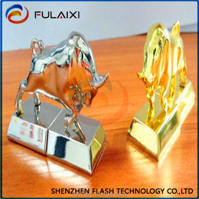hot Gold and sliver bull shape usb flash drives pen drive can printted your logo
