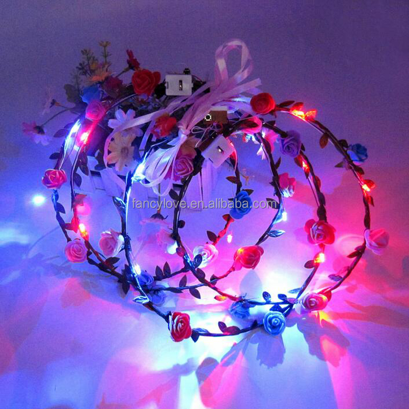 Fancylove Jewelry colorful Flashing LED Flower <strong>Headband</strong> for party holidays