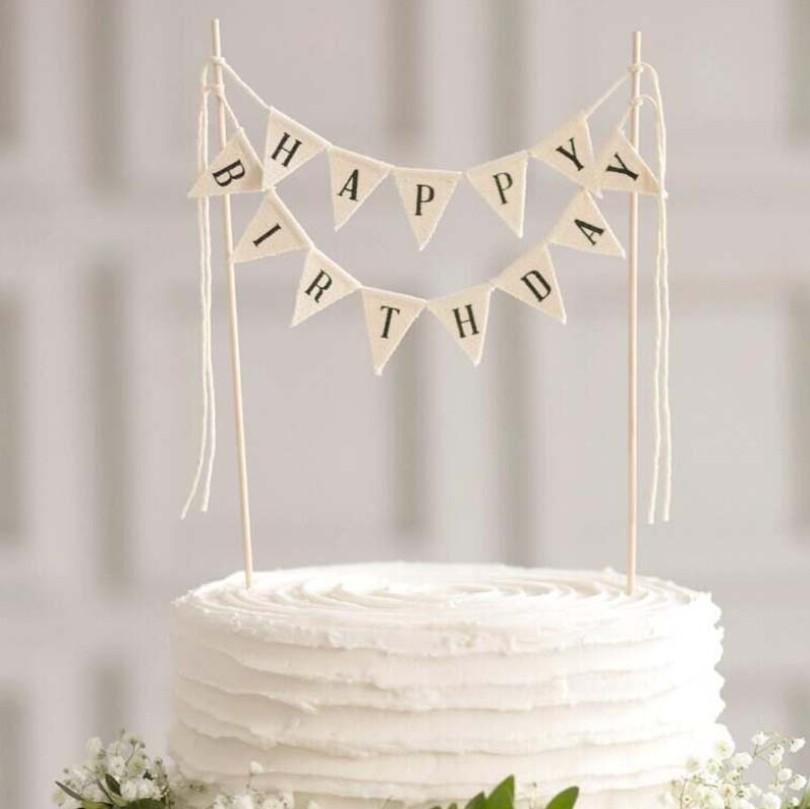 Amazing Happy Birthday Banner Cake Topper Handmade Ivory Pennant Flag Birthday Cards Printable Opercafe Filternl