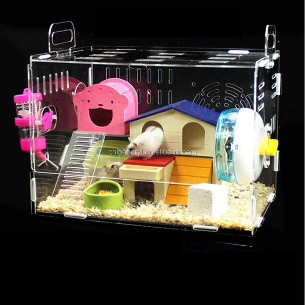 Acrylic Hamster Cage Transparent Clear View Single Layer Mice Mouse Gerbil Castle Rat House