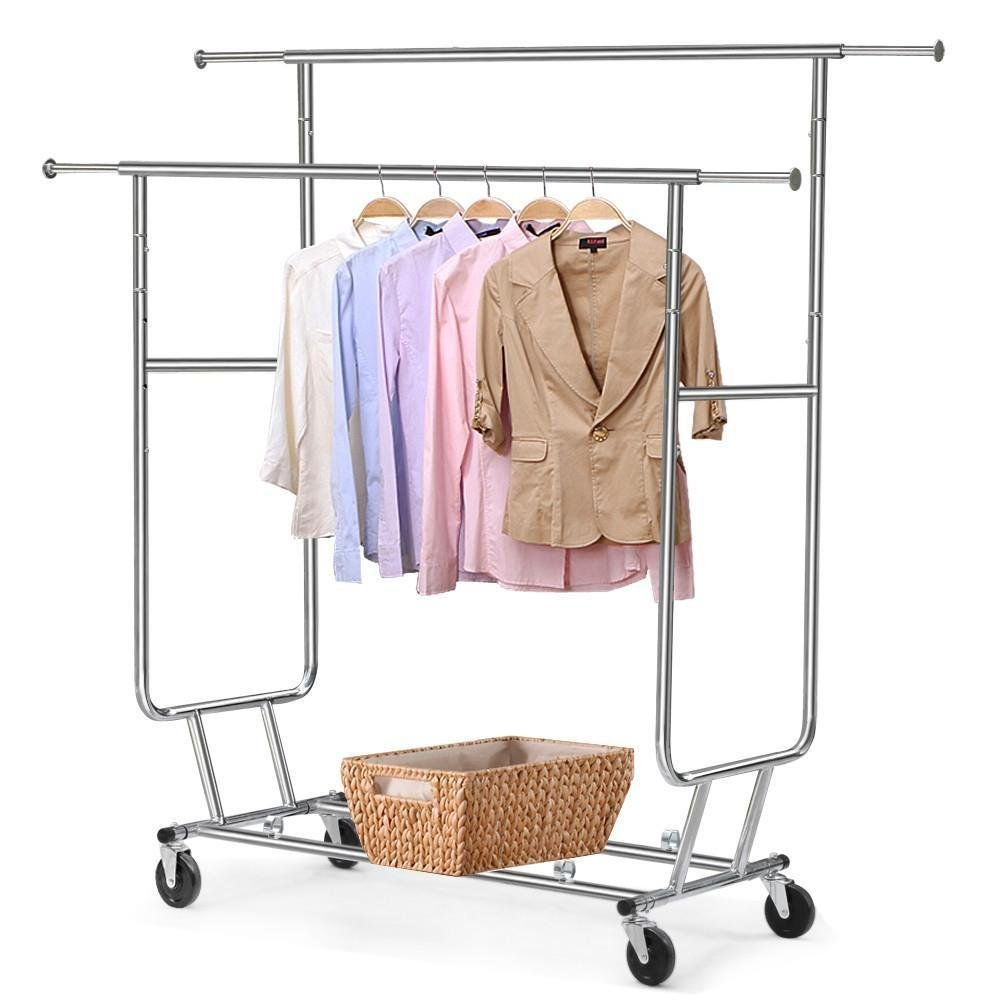 Heavy duty garment clothes rack hanger holder double rolling rack buy garment clothes rack product on alibaba com