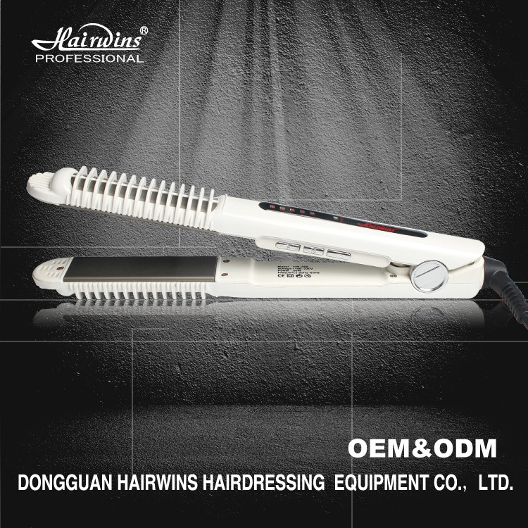 2 in 1 dual function professional hair straightener flat iron with comb and curling machine stylish