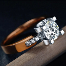 Rose Gold Plated Rings for women wedding bands 2ct cz diamond  engagement Bijoux Jewelry luxury Accessories V18KR015