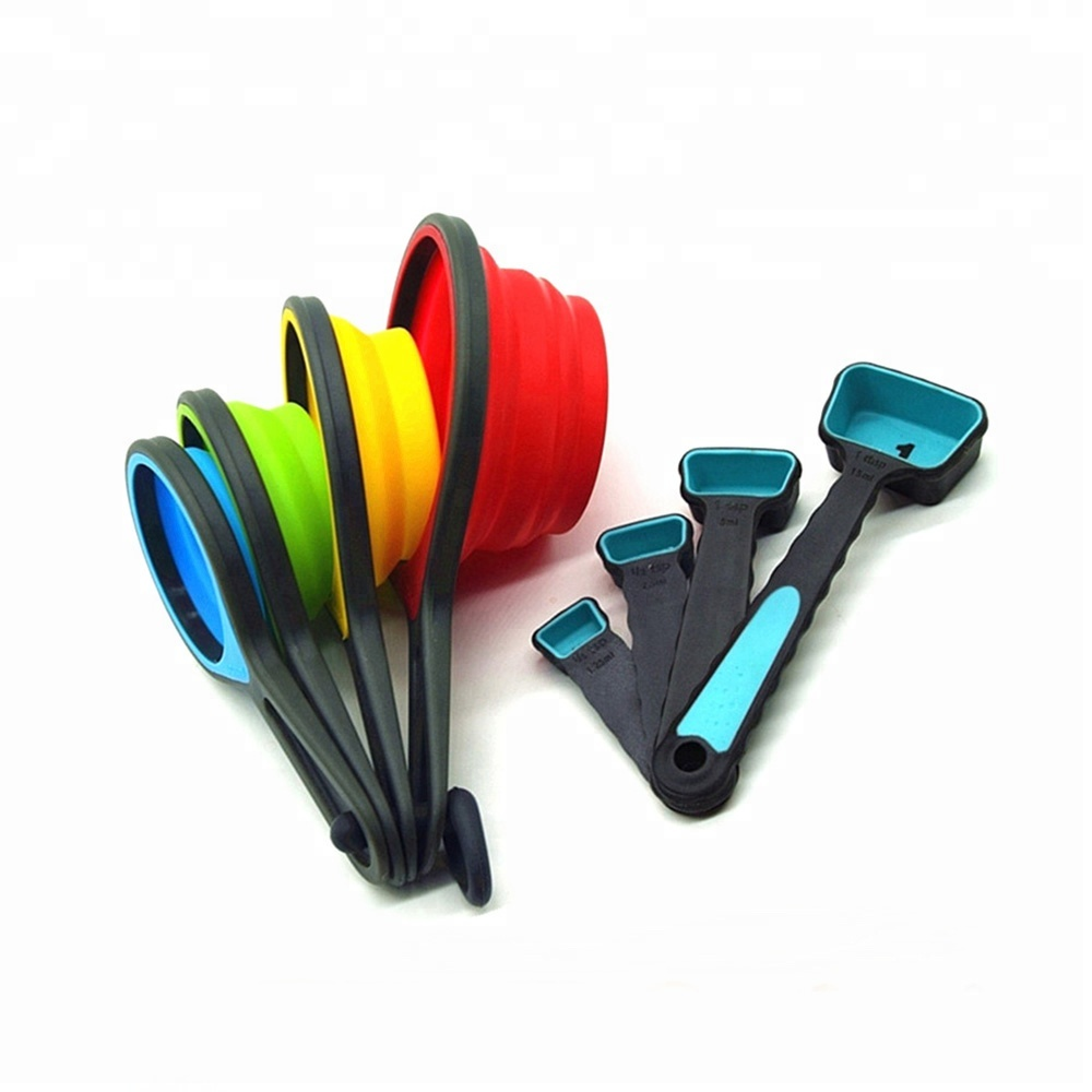 Wholesale Kitchenware Plastic Foldable Silicone Kitchen <strong>Measuring</strong> Cup Set , Collapse Silicone <strong>Measuring</strong> <strong>Spoon</strong>