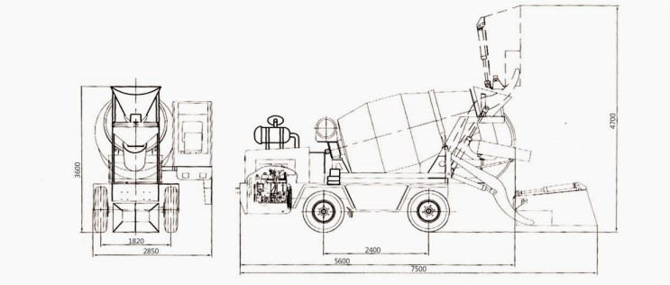Diagram Of Concrete Cement Mixer Truck   Mixer Truck Size