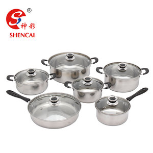 Kitchenware Wholesale Stainless Steel 12pcs Cookware Set Pot And Pan Set