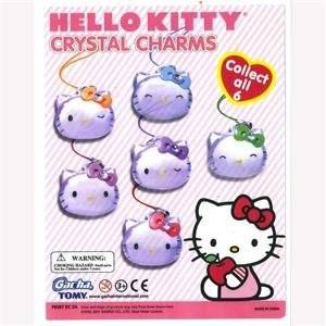 Hello Kitty Crystal Like (Means: Clear See Thru) Charms Set of 6 Vending Toys - Capsule Toys