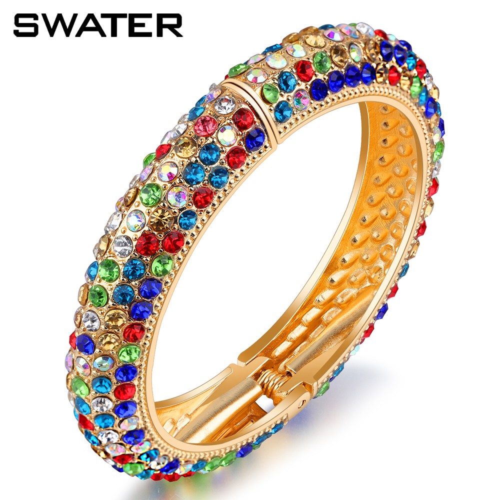Wholesale Costume Jewelry 2017 Colored Rhinestone Ethnic Bracelet Gold Plated