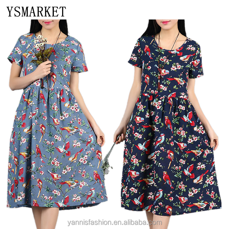 <strong>Women</strong> Casual Cotton Linen Summer Dress Vestidos Mujer Floral Print Vintage <strong>Women</strong> O-neck Maxi Long Dress 2017 Party Dresses Robe