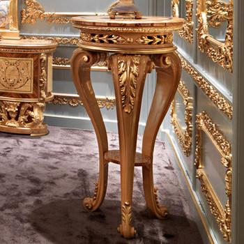 royal castle golden solid wood flower stand inlaid wood veneer