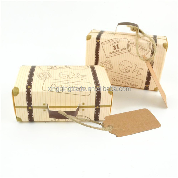 Mini Suitcase Kraft Candy Box Bonbonniere Wedding Gift Boxes Travel Themed Party for Anniversary Birthday Baby Shower Box