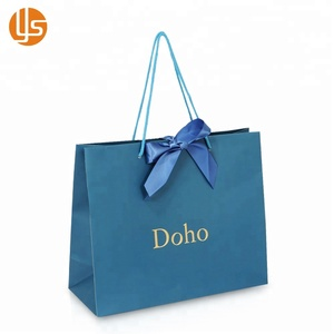 Wholesale Luxury Custom Branded Logo Golden Hot Stamping Shopping Promotion Paper Gift Bag
