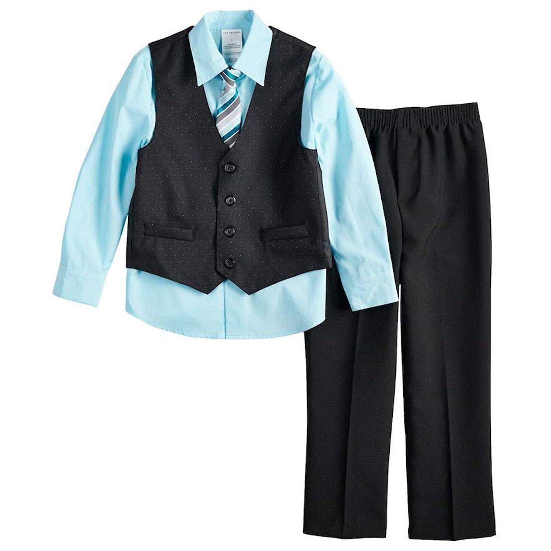 325713a6871a Get Quotations · Van Heusen Boys Shirt, Vest, Tie, Pants 4 Piece Suit Size  8 Black