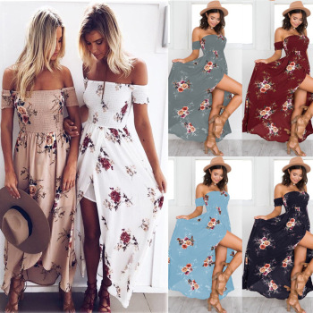Ecowalson Boho Print Long Party Dress Women Sexy Split Off Shoulder Beach Maxi Dress Summer Strapless Split Sundress Plus Size