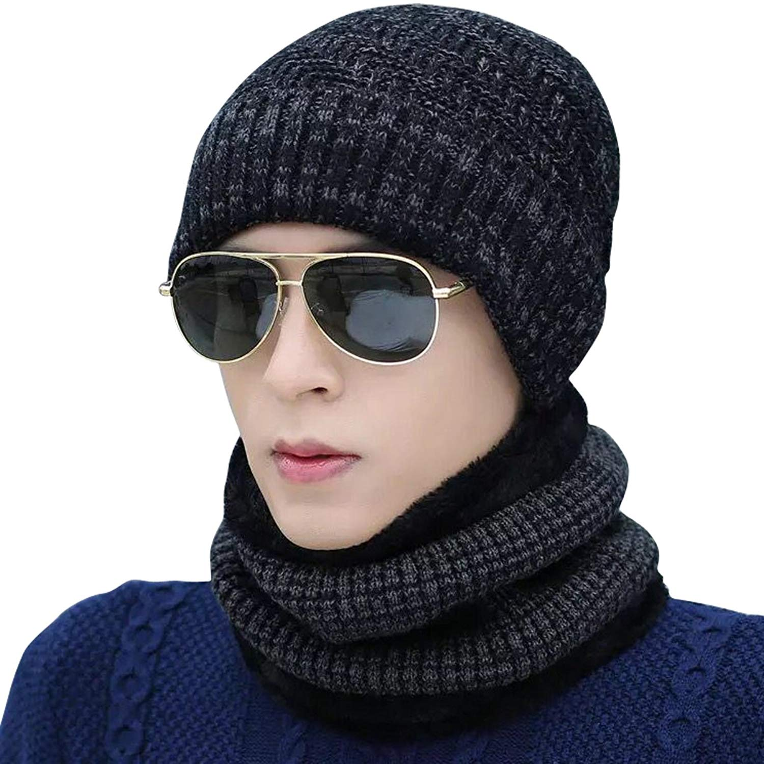 Get Quotations · Lanzom Men Beanie Hat Scarf Set Outdoor Winter Warm Knit  Fleece Lined Skull Cap Gift f90af12d7099