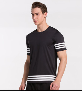 Men Stripes Custom Logo Plain Blank T-shirt